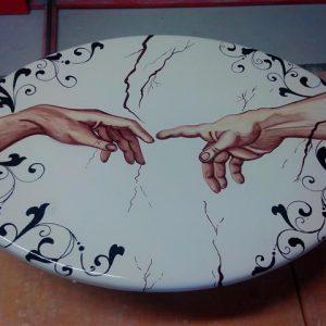quadro in pietra lavica decorato a mano